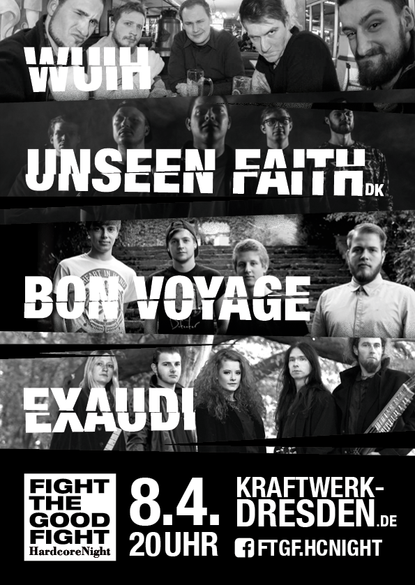 Fight The Good Fight – HardcoreNight // Veranstaltungsflyer für den 8.4.2016